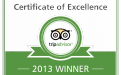 Certificate of Excellence 2013 by Trip Advisor